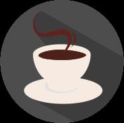 Icon Tasse Kaffe mit Dampf grau, weiß, weinrot.