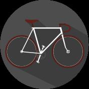 Icon Fahrrad grau, weiß, weinrot.