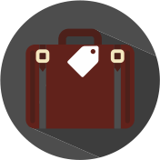 Icon Koffer mit Schild grau, weiß, weinrot.
