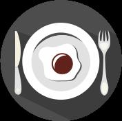 Icon Spiegelei auf Teller mit Messer und Gabel grau, weiß, weinrot.