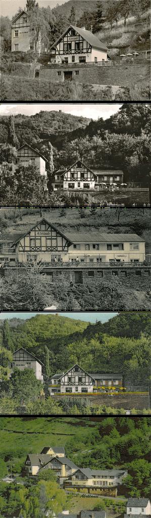 Die Panorama Pension Ahrklause Dernau im Wandel der Zeit von 1958 bis ca. 1970.