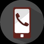 Icon Handy mit Anrufsignal grau, weiß, weinrot.