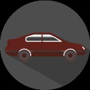 Icon Auto grau, weiß, weinrot.