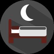 Icon Bett mit Halbmond grau, weiß, weinrot.
