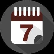 Icon Kalender mit Kalenderblatt mit der Zahl 7 grau, weiß, weinrot.