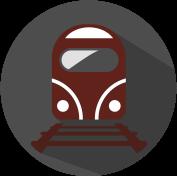 Icon Zug auf Schienen grau, weiß, weinrot.