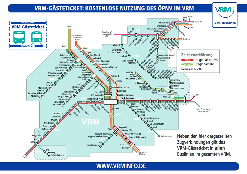 Schienennetz des VRM Gebietes.